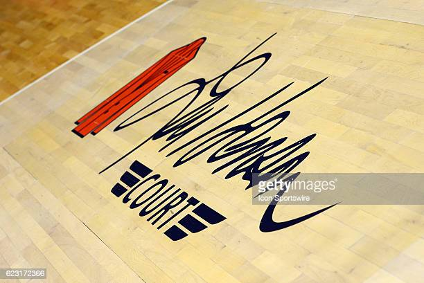 The Lou Henson Court logo is displayed on the floor during the basketball game between the Northern Kentucky Norse and the Illinois Fighting Illini...