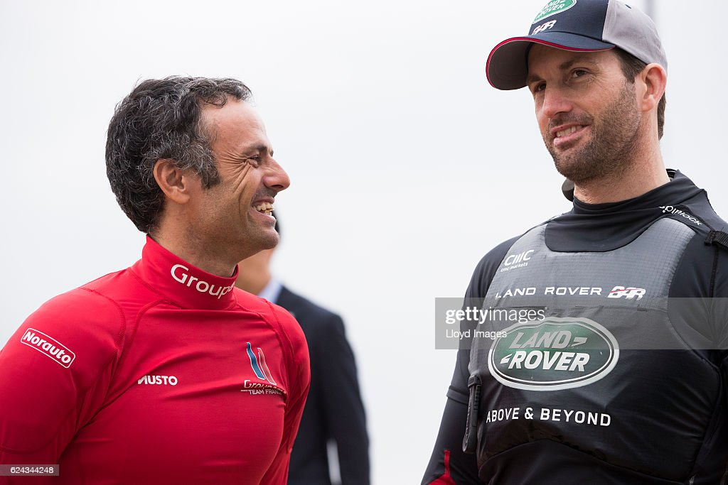 The Louis Vuitton Americas Cup World Series Japan. Ben Ainslie skipper of LandRover BARand Franck Cammas skipper of Groupama Team France prior to racing on November 19, 2016 in Fukuoka, Japan.