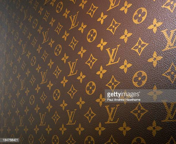 The Louis Vuitton backdrop during Louis Vuitton Kicks Off 150th Anniversary by Opening Its Largest Store in New York City Press Conference at The...