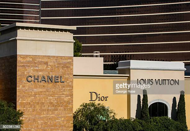 """The Louis Vuitton, Chanel and Dior stores at the Wynn Hotel & Casino are viewed on December 7, 2015 in Las Vegas, Nevada. Tourism in America's """"Sin..."""