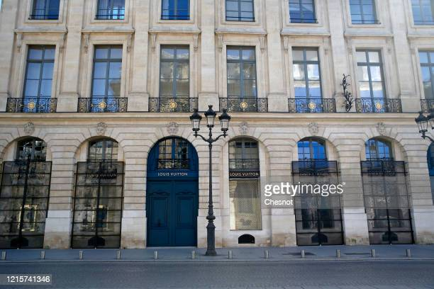 The Louis Vuitton closed luxury leather goods and readytowear boutique is seen at Place Vendome during the Coronavirus epidemic on March 30 2020 in...