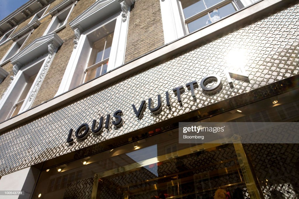 The Louis Vuitton 'maison,' the London flagship store for LVMH Moet Hennessy Louis Vuitton SA, stands in New Bond Street in London, U.K., on Tuesday, May 25, 2010. The new London LV maison has been designed by the New York-based architect, Peter Marino, who also worked on the brand's Champs Elysees maison. Photographer: Chris Ratcliffe/Bloomberg via Getty Images