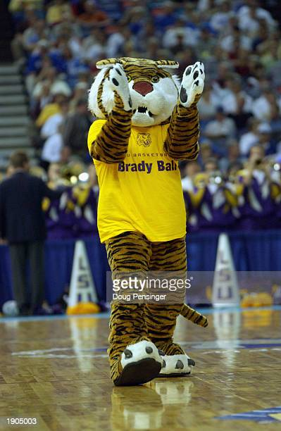The Louisiana State Tiger's mascot performs during the game against the University of Florida Gators in the SEC Men's Basketball Tournament at the...