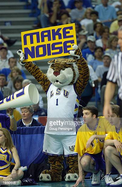 The Louisiana State Univerity Tigers mascot cheers during semifinal action in the SEC Men's Basketball Tournament against Mississippi State at the...