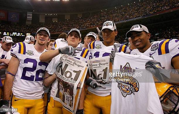 The Louisiana State University Tigers celebrate defeating the Ohio State Buckeyes 38-24 in the AllState BCS National Championship on January 7, 2008...