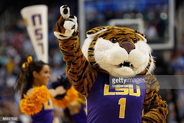 The Louisiana State University Tigers mascot cheers against the North Carolina Tar Heels during the second round of the NCAA Division I Men's...