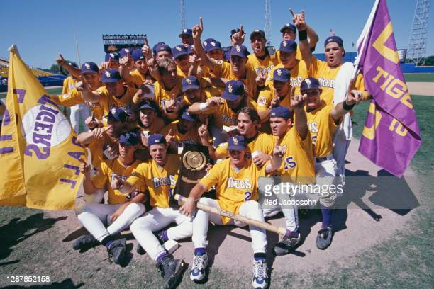 The Louisiana State University Tigers players celebrate after winning the NCAA Division I Baseball College World Series against the University of...