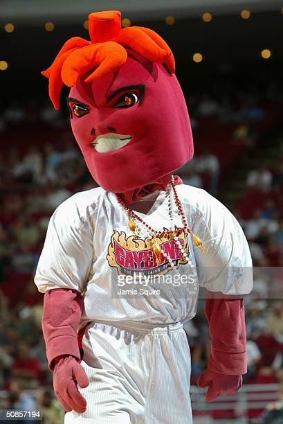 The Louisiana-Lafayette Ragin' Cajuns mascot entertains the crowd during the first round game of the NCAA Basketball Tournament against the North...