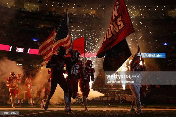 The LouisianaLafayette Ragin Cajuns take the field before a game against the Southern Miss Golden Eagles at the MercedesBenz Superdome on December 17...