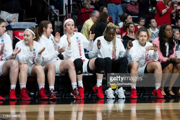 The Louisville Cardinals bench reacts to play on the court during the second half of the game between the Connecticut Huskies and the Louisville...