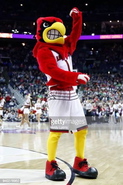 The Louisville mascot 'Cardinal Bird' performs during the first half in the semifinals of the 2018 NCAA Women's Final Four between the Mississippi...