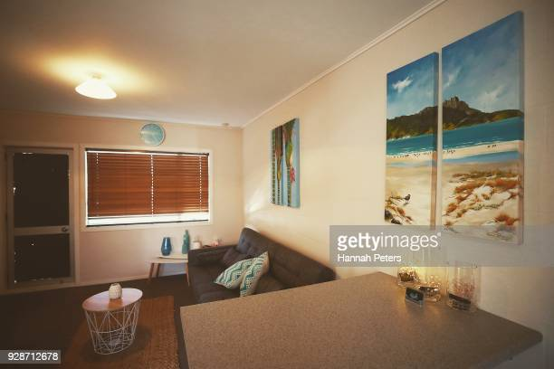 The lounge area where clients first meet their sex worker at The Bach an ethical escort service on October 19 2017 in Whangarei New Zealand Brothel...