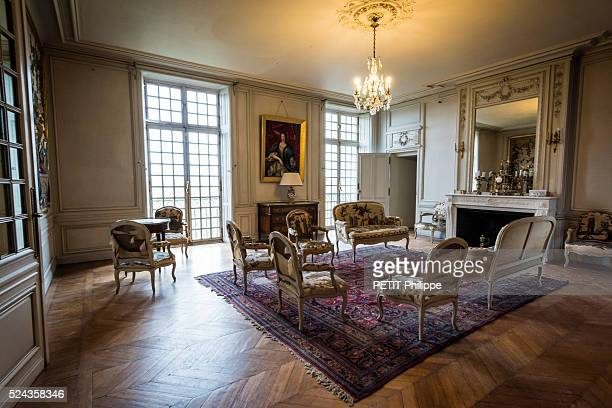 the lounge of the Castle SaintBrissonSurLoire owned by Lancelot Guyot 26 years is photographed for Paris Match on april 14 2016 in...