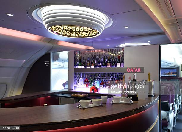 The lounge of the first and business class of an Airbus A380 of Qatar Airways is pictured at Le Bourget airport on June 16 north of Paris, on the...