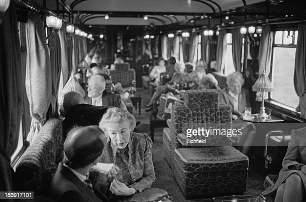 The lounge of the VeniceSimplon Orient Express as it arrives in Venice Italy circa 1985 The company was founded by James Sherwood in 1982