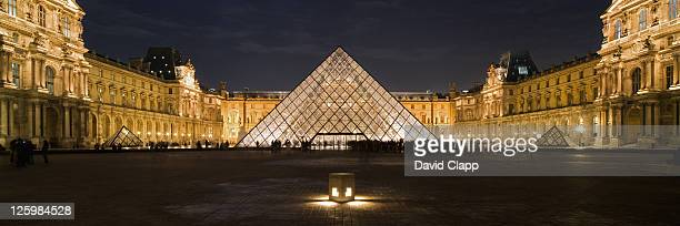 The Louvre art gallery and glass pyramid, Paris, France