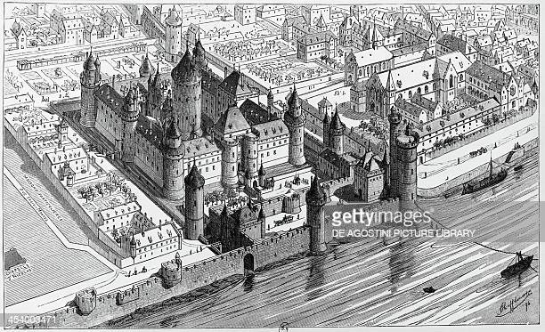 The Louvre in Paris at the time of King Charles V engraving France 14th century