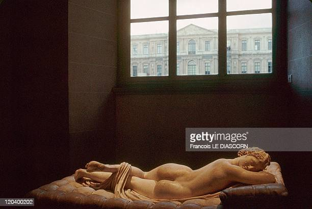 The Louvre museum in Paris France in 1991 Hermaphrodite asleep roman copy after greek original from middle of the 2nd century BC Matteress by Bernin