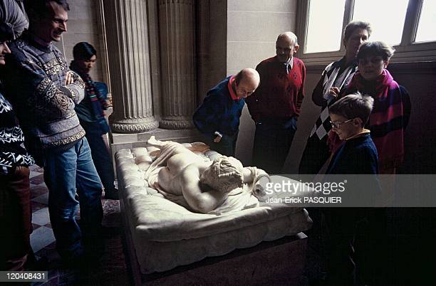The Louvre Museum in Paris France in 1993 Sleeping hermaphrodite a Roman replica after the original from the midIInd century BC in the Caryatids room
