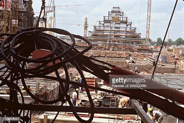 The Louvre museum in Paris France in July 1987 Louvre Pyramid construction