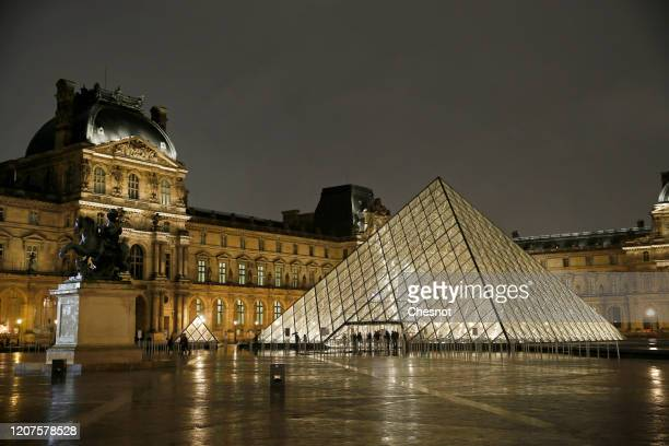 The Louvre Pyramid and the Louvre museum are seen at night on February 20, 2020 in Paris, France. The prestigious Leonardo da Vinci exhibition at the...