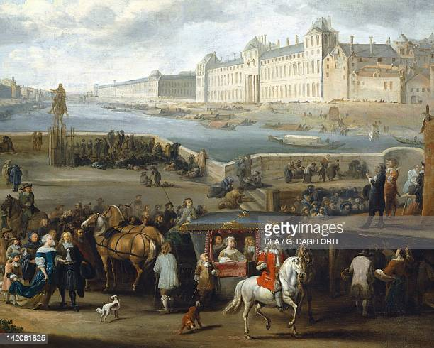 The Louvre seen from the PontNeuf by Hendrick Mommers France 17th Century Detail