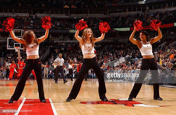 The Lovabulls dancers perform during a timeout in the game between the Utah Jazz and the Chicago Bulls at the United Center on November 12 2005 in...