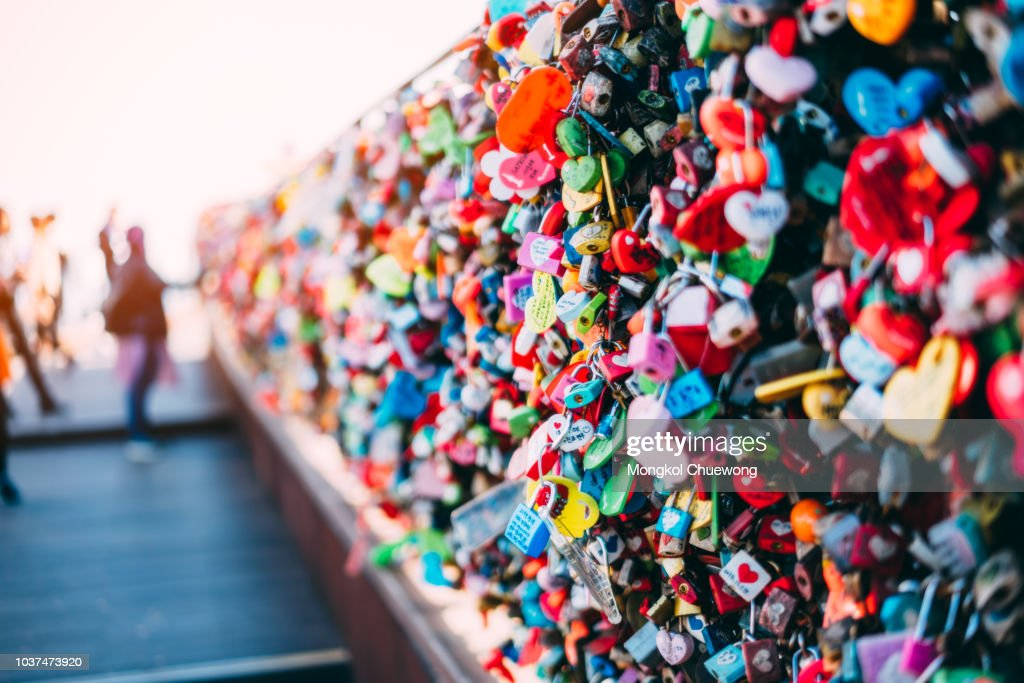 The Love Key Ceremony on N Seoul Tower at Namsan Mountain in Seoul City, South Korea. : Stock Photo
