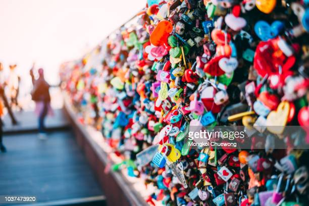 The Love Key Ceremony on N Seoul Tower at Namsan Mountain in Seoul City, South Korea.