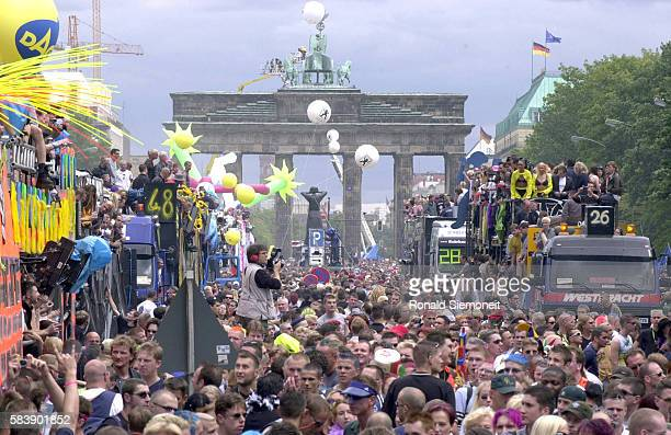 The Love Parade at the Brandenburg Gate Berlin