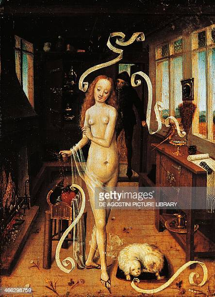 The love spell Flemish artist from BasRhin oil on wood 24x18 cm Germany 15th century