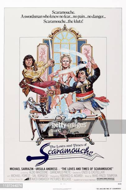 The Loves And Times Of Scaramouche, poster, , US poster art, from left: Michael Sarrazin, Ursula Andress, Aldo Maccione, 1976.