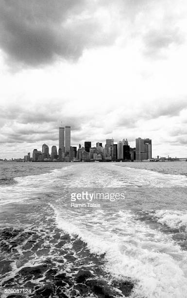The Lower Manhattan and World Trade Center towers seen from the Staten Island Ferry on August 2001.