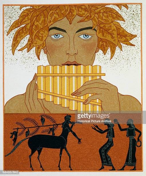 The lower part of this illustration mimics the Ancient Greek Blackfigure style of pottery painting