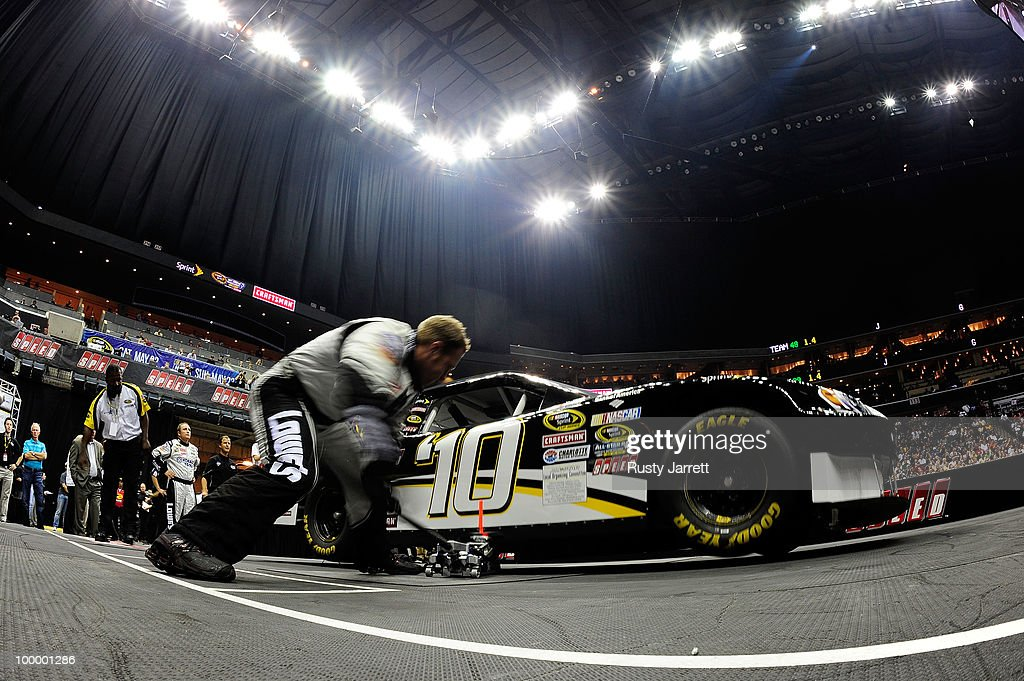 The #48 Lowe's Chevrolet pit crew races during the NASCAR Sprint Pit Crew Challenge at Time Warner Cable Arena on May 19, 2010 in Charlotte, North Carolina.