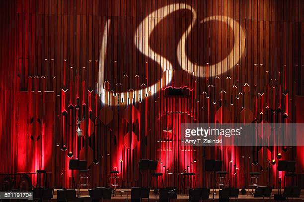 The LSO logo is projected as the stage is set before French pianist PierreLaurent Aimard performs composer Olivier Messiaen's 'Couleurs de la cite...