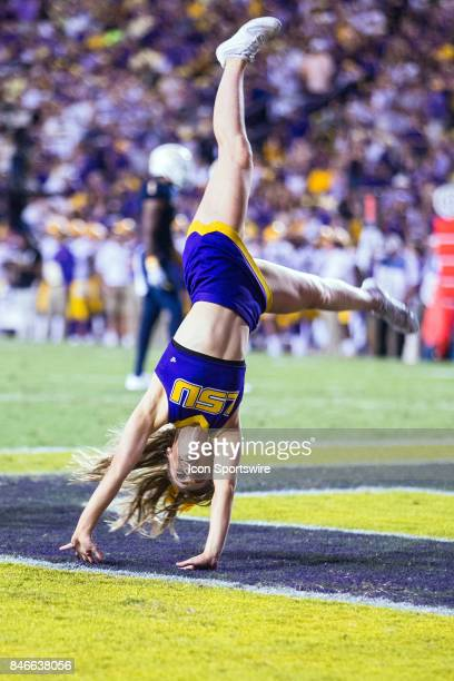 The LSU Tigers cheerleaders tumble through the end zone during a game between the University of TennesseeChattanooga Mocs and LSU Tigers on September...