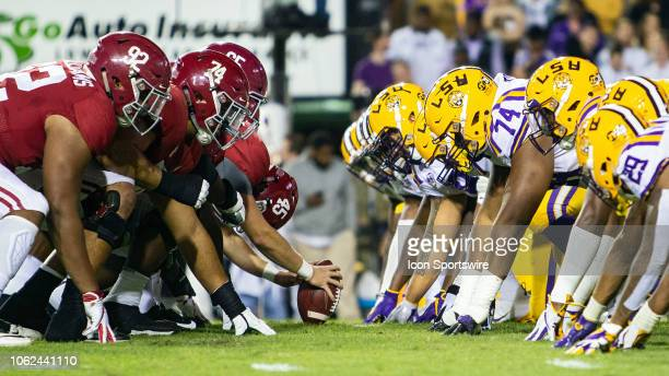 The LSU Tigers defense lines up fro a play during a game between the LSU Tigers and Alabama Crimson Tide on November 3 2018 at Tiger Stadium in Baton...