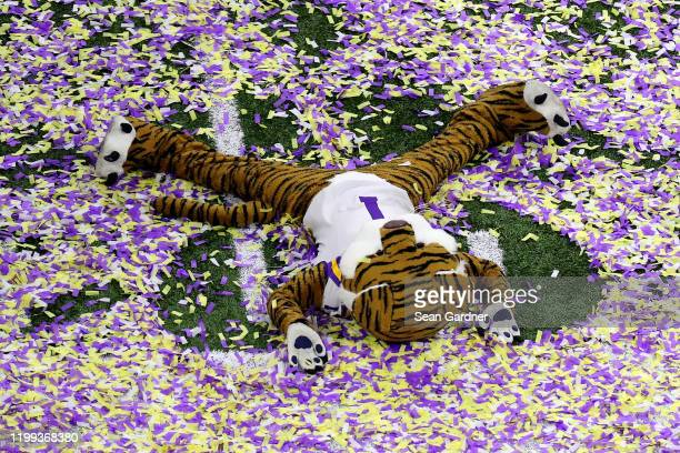 The LSU Tigers mascot celebrates after the LSU Tigers defeated the Clemson Tigers in the College Football Playoff National Championship game at...