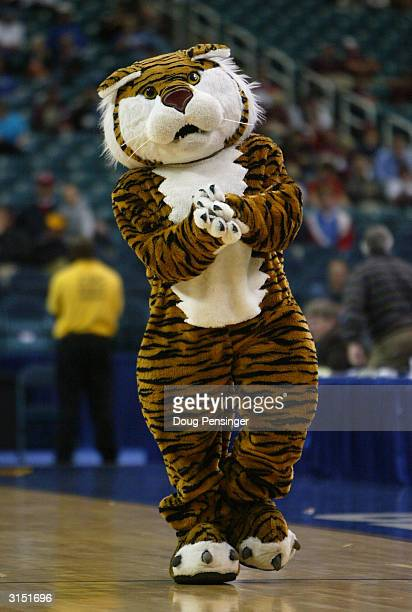 The LSU Tigers mascot entertains the crowd during the second round game of the SEC Men's Basketabll Tournament against the South Carolina Gamecocks...