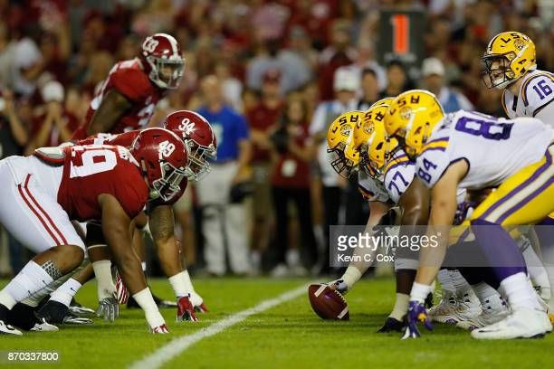 The LSU Tigers offense faces the Alabama Crimson Tide defense at BryantDenny Stadium on November 4 2017 in Tuscaloosa Alabama