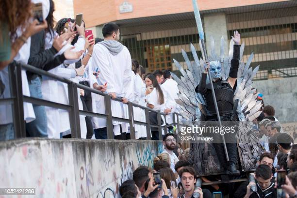The Lucas dressed as Game of thrones character is seen gesturing before the celebrations Every year medicine students celebrate El Lucas in Granada...