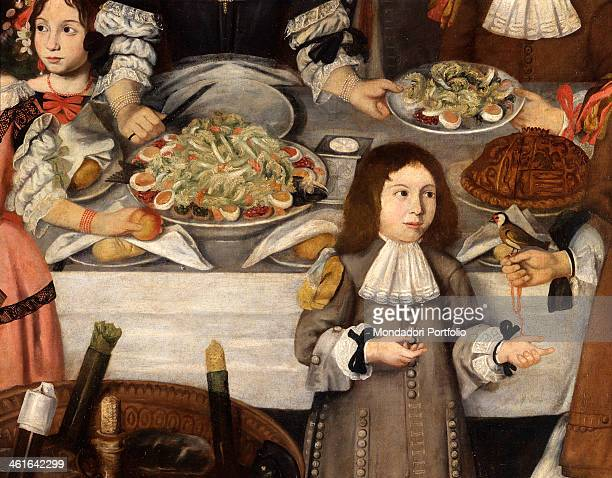 The Lucini Family having a Snack after the Hunt unknown lombard artist 1670 1690 17th century oil on canvas 220 x 443 cm Italy Lombardy Milan...