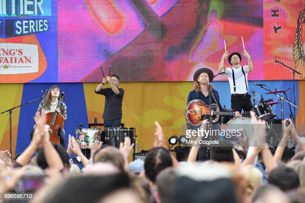 """The Lumineers perform on ABC's """"Good Morning America"""" at Rumsey Playfield, Central Park on June 16, 2017 in New York City."""