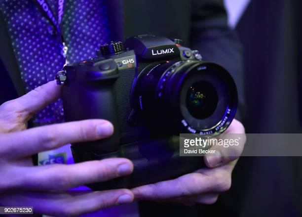 The Lumix GH5S mirrorless camera is displayed during a Panasonic press event for CES 2018 at the Mandalay Bay Convention Center on January 8 2018 in...