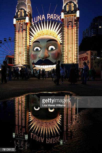 The Luna Park face is seen decorated with a mostache for the Movember Gala night on November 28 2007 in Sydney Australia Movember is an annual...