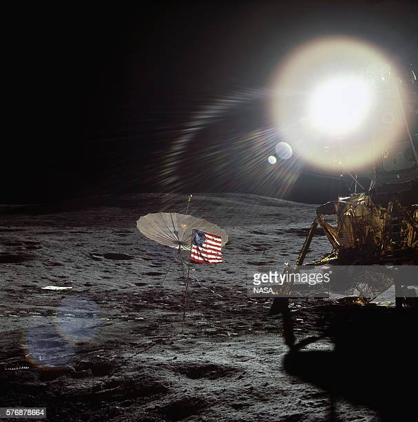 The lunar module for the Apollo 14 mission on the Moon's surface The sun shines on the landing site