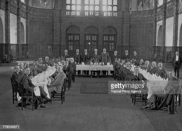 The Luncheon in the Main Hall at Birmingham University after British mining engineer Sir John Cadman opened the university's new Department of...