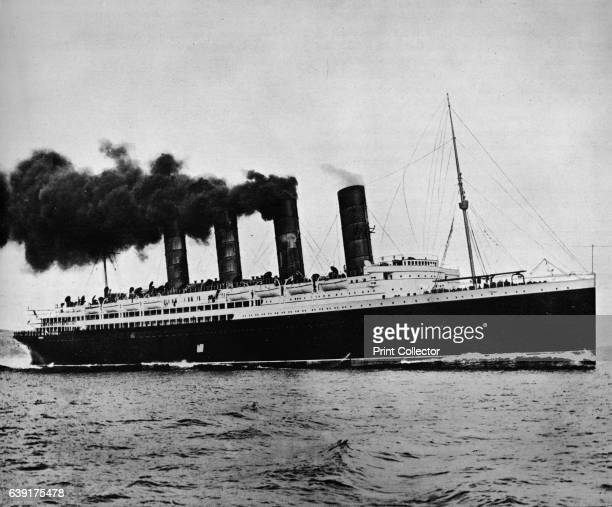 The Lusitania at full speed' 1915 A German submarine sank the Lusitania off the Irish coast Although unarmed she was carrying munitions 1198 people...