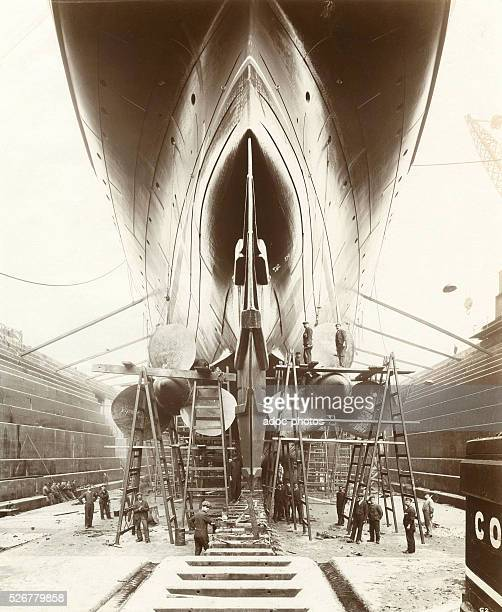 The Lusitania in the John Brown and Company shipyard at Clydebank Ca 1905